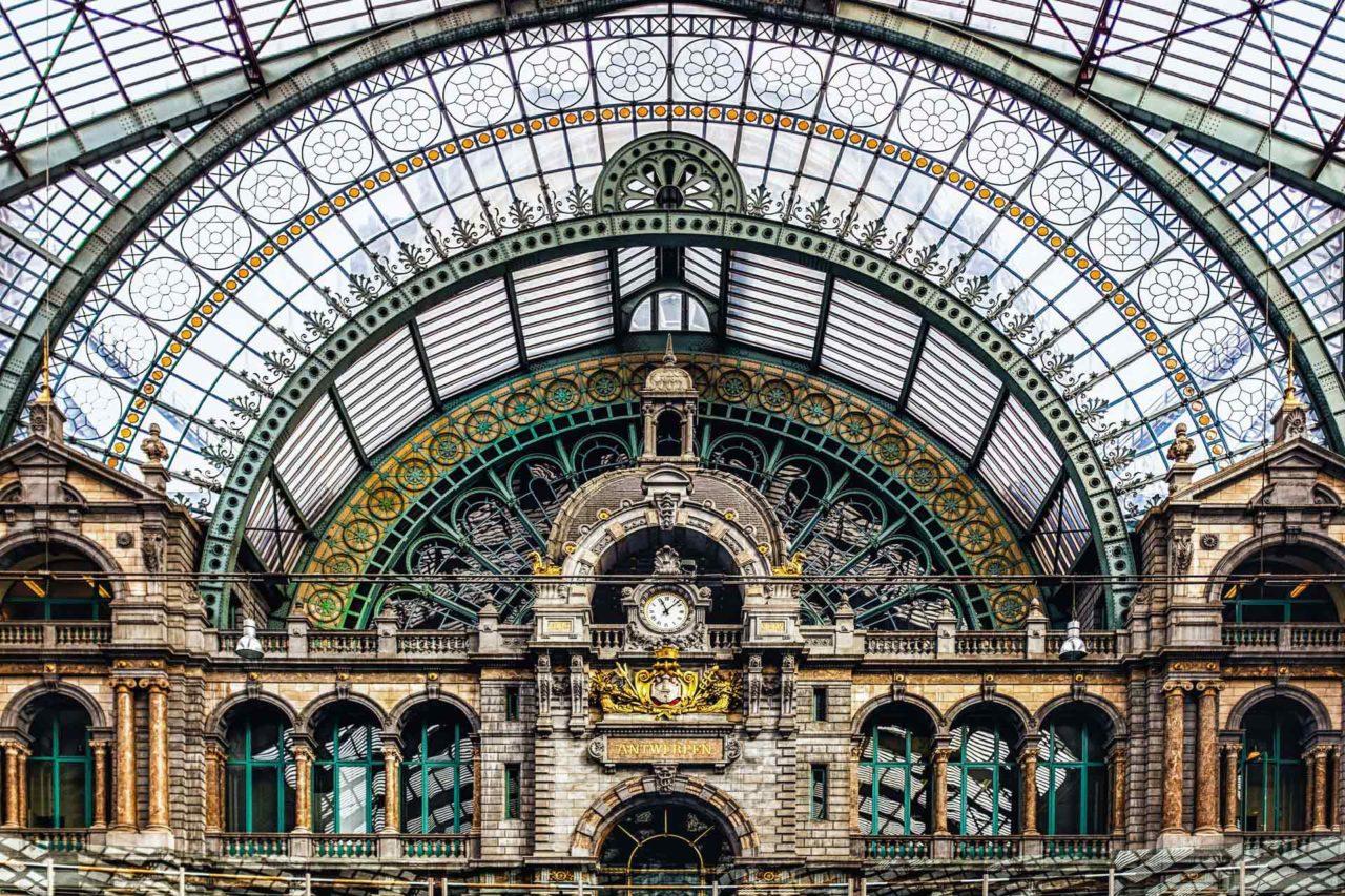 Antwerp train station clock tower Antwerp Belgium