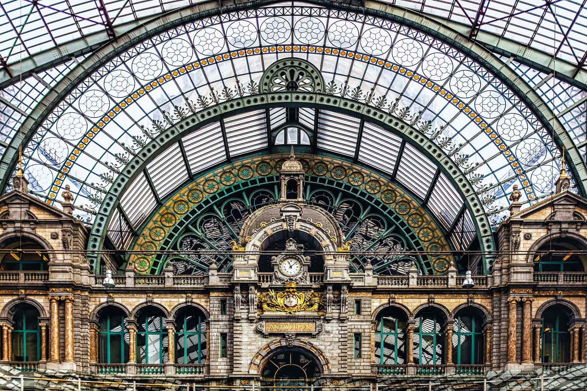Antwerp train station clock tower Antwerp Belgium