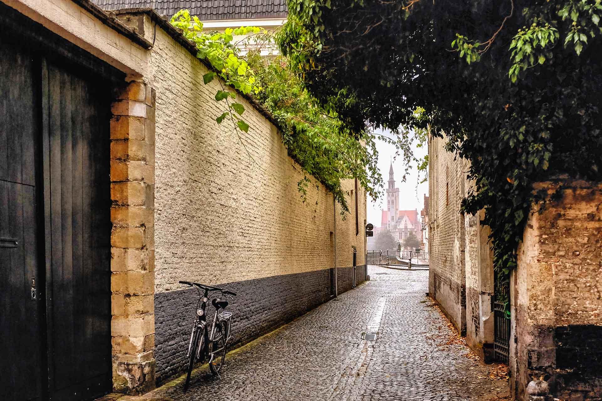 Bicycle steeple Bruges Belgium