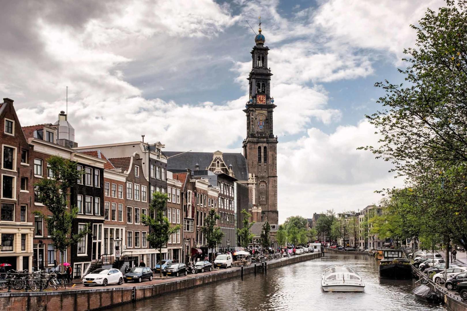 Westerkerk Church canal Amsterdam Netherlands