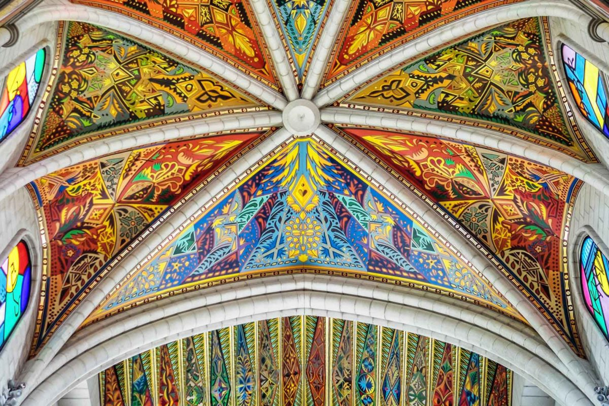 Almudena Cathedral altar ceiling Madrid Spain