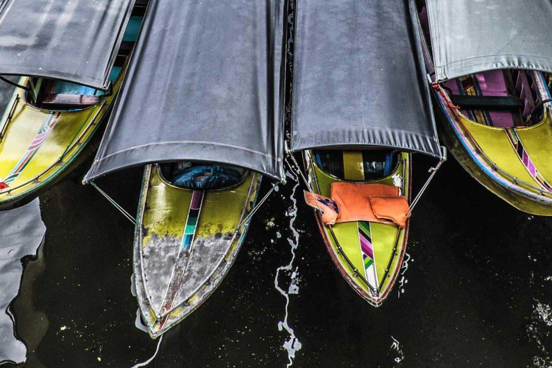 Damnoen Saduak Floating Market Long Tail Boats Bangkok Thailand