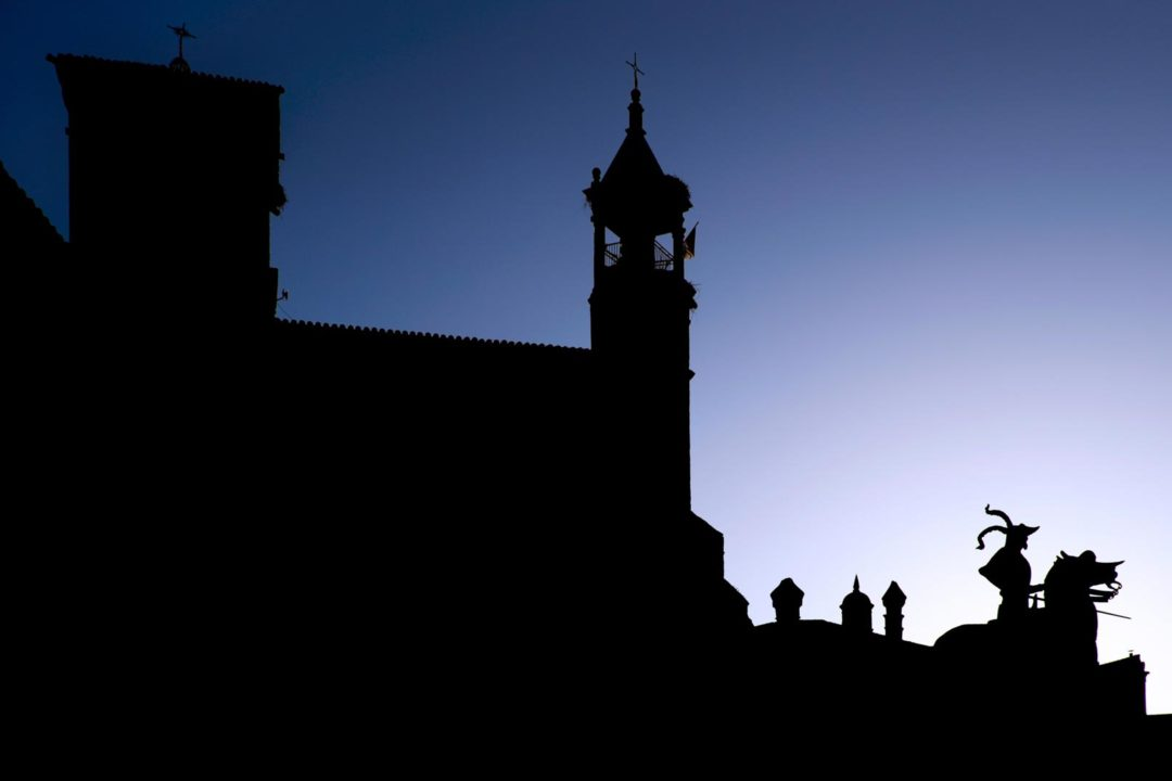 Plaza Mayor silhouette Trujillo Spain